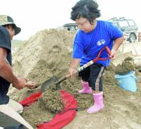 A girl digs up sand in a community event July 2 to return it to Goto Beach in Hamamatsu, Shizuoka Prefecture. | KYODO PHOTO