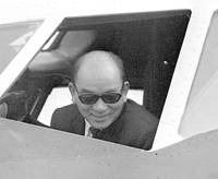 Shinji Ishida looks out from the cockpit of his Japan Airlines plane at Tokyo's Haneda airport on April 5, 1970, after returning from a hijacking to North Korea by Japanese Red Army members.   KYODO FILE PHOTO