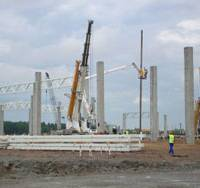 Construction continues at the site of Toyota's sedan factory on the outskirts of St. Petersburg, Russia. | KYODO PHOTO