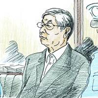 Moriyoshi Kimura, former president of Kimura Construction Co., listens Thursday during the opening session of his trial at the Tokyo District Court. | KYODO ILLUSTRATION