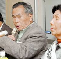 Former judge Norimichi Kumamoto speaks Friday at an assembly in Tokyo against the death penalty. | KYODO PHOTO