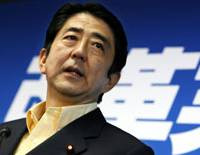 Prime Minister Shinzo Abe appears at a news conference at the headquarters of his Liberal Democratic Party on Monday, the day after the party suffered a stunning loss in the House of Councilors election. | AP PHOTO