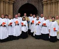 The Rev. Ikuko Williams (sixth from left) is seen with other Church of England deacons. | KYODO PHOTO