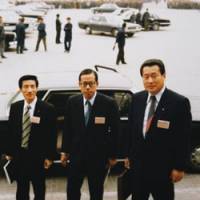 Yasuo Fukuda is seen with fellow Liberal Democratic Party lawmakers Junichiro Koizumi and Yoshiro Mori — who both later became prime ministers — when they visited Beijing accompanying Fukuda's father, Takeo, in October 1981. | AP PHOTO