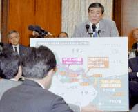 Defense Minister Shigeru Ishiba talks about the Maritime Self-Defense Force's fuel supply mission in the Indian Ocean during a Friday session of the House of Representatives Committee on Security. | KYODO PHOTO