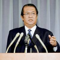 Justice Minister Kunio Hatoyama faces reporters Friday in Tokyo to announce three executions.   KYODO PHOTO