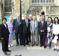 Former foes: Masao Hirakubo (center, with a cane) attends the annual Anglo-Japanese service of reconciliation at Canterbury Cathedral in August 2006. He is joined by British war veterans and other members of the Japanese community in Britain, including Japanese Ambassador Yoshiji Nogami (to the left of Hirakubo). | KYODO PHOTO
