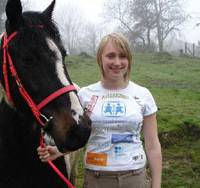 Raring to go: Becky Sampson poses with her horse, Bertie, in London as she prepares to leave in August and travel for four years by horseback to Tokyo, planning to arrive in 2012. | KYODO PHOTO