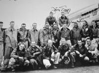 Band of brothers: Jerry Yellin (fifth from left, second row) poses with his squadron on Iwojima in April 1945. | COURTESY OF JERRY YELLIN