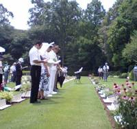 With respect: People gather at Yokohama Commonwealth War Cemetery on Saturday for an annual memorial service for soldiers of the British Commonwealth and other Allied nations who died in Japan during World War II. | KAZUAKI NAGATA PHOTO