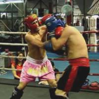 Brothers in arms: Lee (left) and Lindsay Vine spar in Chiang Mai, Thailand, in February.   COURTESY OF LEE AND LINDSAY VINE