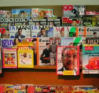 Mixed media: Foreign magazines, most of them old issues, are displayed at the National Azabu supermarket in Minato Ward, Tokyo, this week. | MINORU MATSUTANI PHOTO