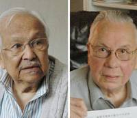 Survivors: Former Dutch prisoners of war Ronald Scholte (right) and Armand Busselaar file applications Thursday for government recognition as sufferers of radiation-induced illnesses caused by the atomic bombing of Nagasaki. | KYODO PHOTO