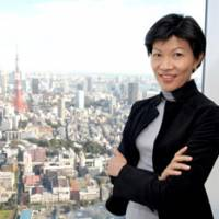 View from the top: Kathy Matsui, managing director and codirector of Pan Asian Investment Research at Goldman Sachs Japan, poses at her company's office in Roppongi, Minato Ward, Tokyo, last month. | YOSHIAKI MIURA PHOTO