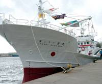 Fish out of water: The 122-ton Yoshi Maru No. 38, which was seized Tuesday by Russia in the Sea of Japan, is shown in Sakaiminato port in Tottori Prefecture last August. | KYODO PHOTO