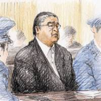 On trial: A sketch shows former sumo stablemaster Tokitsukaze, whose real name is Junichi Yamamoto, standing trial Thursday at the Nagoya District Court over the fatal beating of junior wrestler Takashi Saito in 2007. At right, Masato Saito heads to the court for the first trial session into his son's death. | KYODO PHOTO