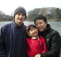 Happy family: Emi Takei-Loubaresse poses with her daughter, Mio, and husband, Jerome Loubaresse, at Senzoku pond in Ota Ward, Tokyo, in January. | MINORU MATSUTANI PHOTO