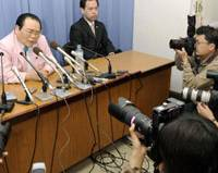 Irregular accounting: Liberal Democratic Party lawmaker Nobuko Iwaki faces the media Monday in Osaka over an alleged irregular accounting involving two groups she heads. | KYODO PHOTO