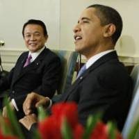 A brief and shining moment: Prime Minister Taro Aso meets with President Barack Obama in the Oval Office on Tuesday. | AP PHOTO