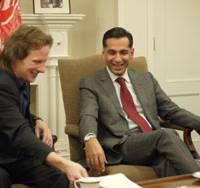From page to stage: Haron Amin (right), Afghan ambassador to Japan, and British playwright Alec Harris chat at the embassy in Minato Ward, Tokyo, about an upcoming play based on Amin's life.   TOMOKO OTAKE PHOTO