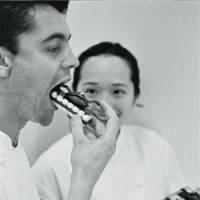 Sweet tooth: William Curley tastes one of his creations alongside his wife, Suzue, at their patisserie in Richmond, southwest London.   KYODO PHOTO