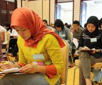 They care: Indonesian nurses take a competency test in Jakarta last Friday to work in Japan as nurses under an economic partnership agreement. | KYODO PHOTO