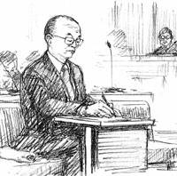 In case I forget: Former Miyazaki Gov. Tadahiro Ando is shown jotting down a memo in this illustration while being pronounced guilty of taking bribes by the Miyazaki District Court on Friday. | KYODO GRAPHIC