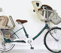 Street legal: A prototype of a bicycle with seats in the front and back for children is displayed in this image provided by the Japan Bicycle Promotion Institute.   KYODO PHOTO