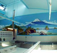 Pleasure for the senses: A painting of Mount Fuji adorns the wall of the Inari-yu public bath in Kita Ward, Tokyo. Steeped in centuries of tradition, 'sento' remain popular places for people to relax and interact. | COURTESY OF KENTARO IMAI ARCHITECTURAL OFFICE