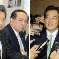 Front-runners: DPJ Secretary General Yukio Hatoyama (at left in photo on left) meets with party executives Tuesday. Right: DPJ deputy chief Katsuya Okada is surrounded by reporters in the Diet. | KYODO PHOTO