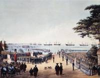 First steps: This painting by William Heine, who accompanied Matthew C. Perry to Japan, depicts the commodore and his 500 officers and crew meeting shogunate commissioners after landing at Yokohama on March 8, 1854. | COURTESY OF YOKOHAMA ARCHIVES OF HISTORY