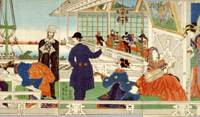 Portraits of times past: The inaugural issue of the Japan Herald was published in Yokohama in November 1861. Utagawa Sadahide's 1861 'ukiyo-e' wood print 'Yokohama Ijin Shokan no Zu' depicts a foreign mercantile house in the area. | YOKOHAMA ARCHIVES OF HISTORY