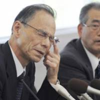 No easy answers: Kyoto University of Education President Mitsuyo Terada (left) faces the media Monday over the arrests of six students for allegedly gang-raping a 19-year-old woman. | KYODO PHOTO
