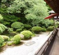 Auctioned off: This garden and a hall at Enmanin Temple in Otsu, Shiga Prefecture, both designated as important cultural assets, were sold for ¥1.07 billion at a court auction May 26 to help pay off the temple's huge debts. | KYODO PHOTO
