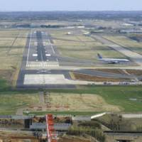 Closed to traffic: An X marks the spot beyond which aircraft landing on Narita airport's 2,180-meter runway must not enter as work continues to get a 2,500-meter strip operational by October. | KYODO PHOTO