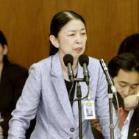 Before arrest: Atsuko Muraki, director general of the Equal Employment, Children and Families Bureau of the welfare ministry, speaks Friday at the Diet. | KYODO PHOTO