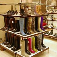 Sung and dry: Colorful water-resistant boots are displayed in the main shoe section at the Mitsukoshi department store in Nihonbashi, Tokyo. | NATSUKO FUKUE PHOTO