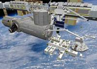 No humming 'Daisy': A computer graphic shows Japan's Kibo manned space experiment facility being attached to the International Space Station. | JAPAN SPACE EXPLORATION AGENCY