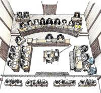Trial by fire: Six lay judges flank three professional judges (top) in this sketch of a courtroom trial Tuesday. | KYODO PHOTO