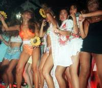 Bubble daze: Women heat up the floor at Juliana Tokyo, a dance club that came to symbolize the go-go days of the bubble economy, in August 1994. | KYODO PHOTO