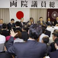 Any thoughts?: Liberal Democratic Party executives listen to a Diet member Tuesday at LDP headquarters in Nagata-cho, Tokyo. | KYODO PHOTO