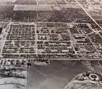 Barbed wire: An aerial photo provided by Japanese- Peruvian Yuriko Tanaka shows the wartime internment camp in Crystal City, Texas.   KYODO PHOTO