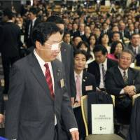 Eyeing the task ahead: Prime Minister Yoshihiko Noda attends the Democratic Party of Japan's convention in Tokyo on Jan. 16. | KYODO