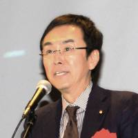 Poisoned ties: Environment Minister Nobuteru Ishihara delivers a speech Saturday in the city of Tokushima, where he referred to Beijing's reluctance to take up Tokyo's offer of technical aid to counter toxic smog.   KYODO