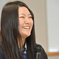 Survivor's story: Honoka Miura, 18, a high school student from tsunami-hit Minamisanriku, Miyagi Prefecture, faces reporters Monday in Tokyo before her planned speech Wednesday at a special U.N. session in New York. | KYODO