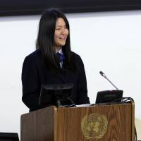 Junior leader: Honoka Miura addresses the U.N. Special Thematic Session on Water and Disasters in New York on Wednesday. | KYODO
