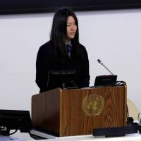Junior leader: Honoka Miura addresses the U.N. Special Thematic Session on Water and Disasters in New York on Wednesday. | AP