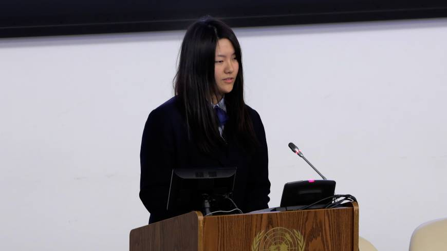 Junior leader: Honoka Miura addresses the U.N. Special Thematic Session on Water and Disasters in New York on Wednesday.