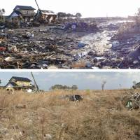 Emptied: These shots by Yoshiichi Yanai show panoramic views of Naraha, Fukushima Prefecture, on March 2 and on the day after the March 11, 2011, disasters. | KYODO