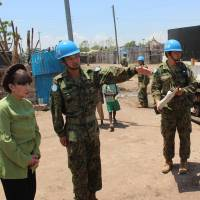 Japanese actress Kuroyanagi visits child care center in South Sudan